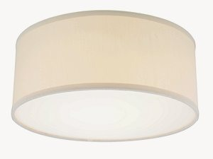 Dolan Lighting-10663-09-Fabbricato - 14.5 Inch Drum Ceiling Trim  Satin Nickel Finish with Beige Linen Fabric Shade