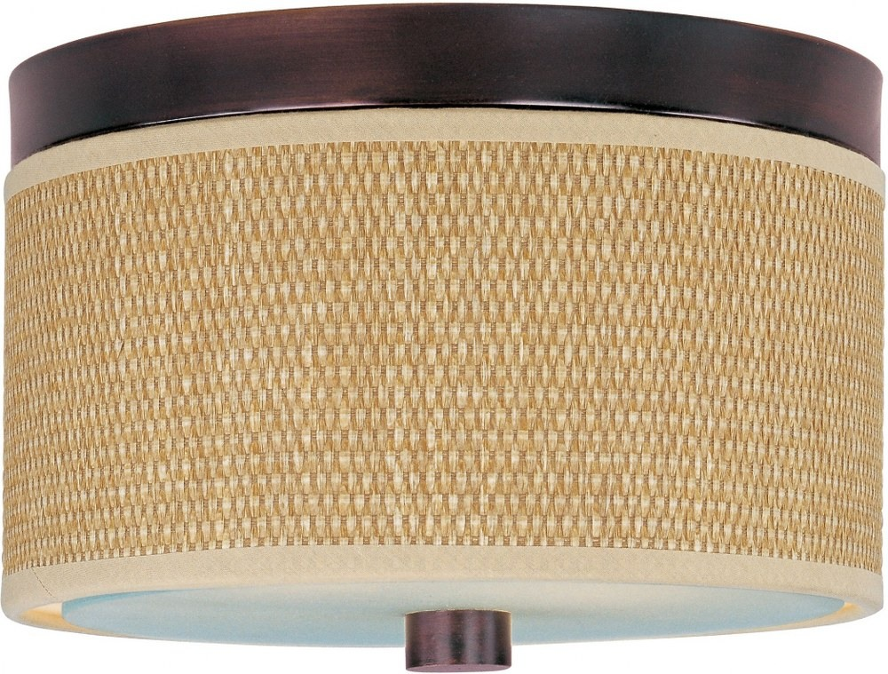 ET2 Lighting-E95000-101OI-Elements - 2 Light Flush Mount  Oil Rubbed Bronze Finish with Natural Fiber Fabric Shade