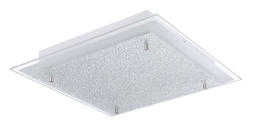 Eglo Lighting-201297A-Priola - 15 Inch 16W 1 LED Flush Mount  Matte Nickel Finish with White Structured Glass