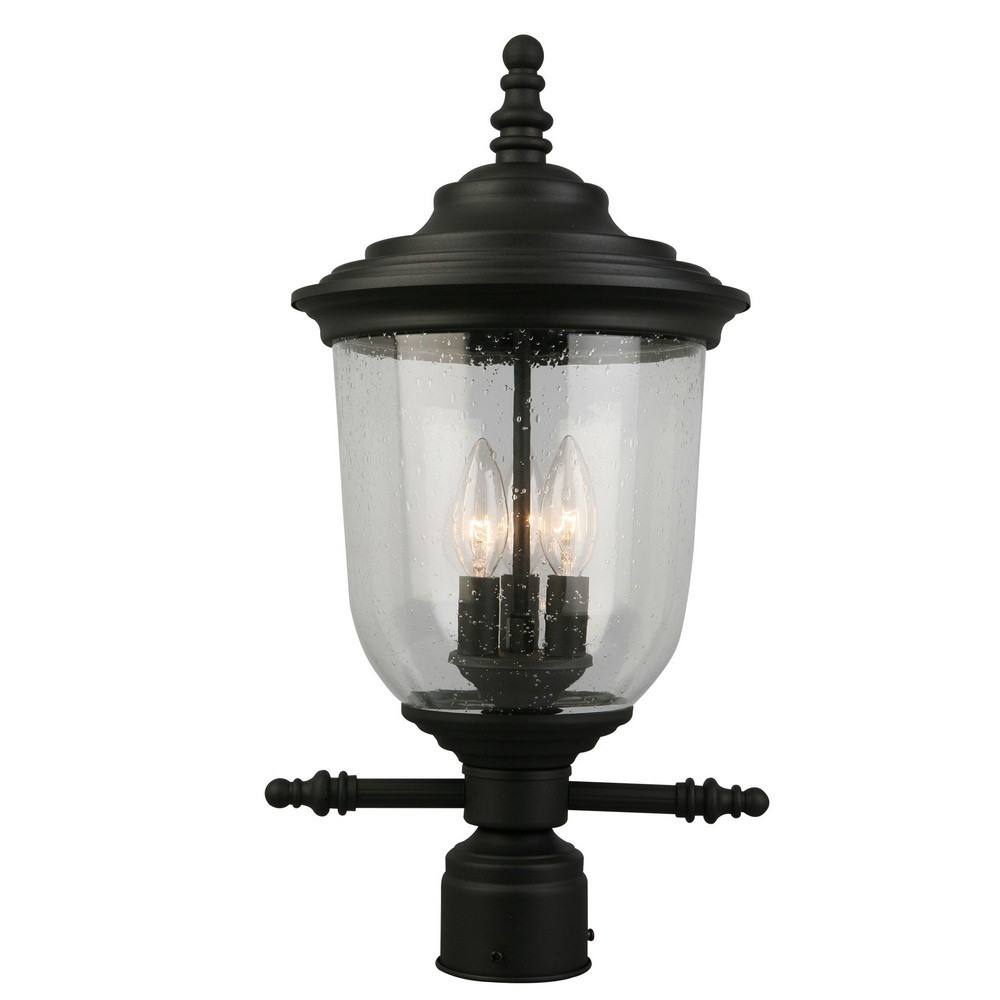 Eglo Lighting-202804A-Pinedale - Three Light Outdoor Post Lantern  Matte Black Finish with Clear Seeded Glass
