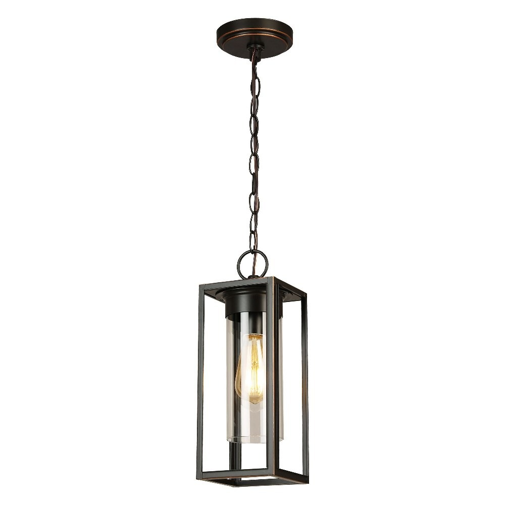 Eglo Lighting-203663A-Walker Hill - 1-Light Outdoor Pendant - Oil Rubbed Bronze  - Clear Glass - 15 Inches  Oil Rubbed Bronze Finish with Clear Glass