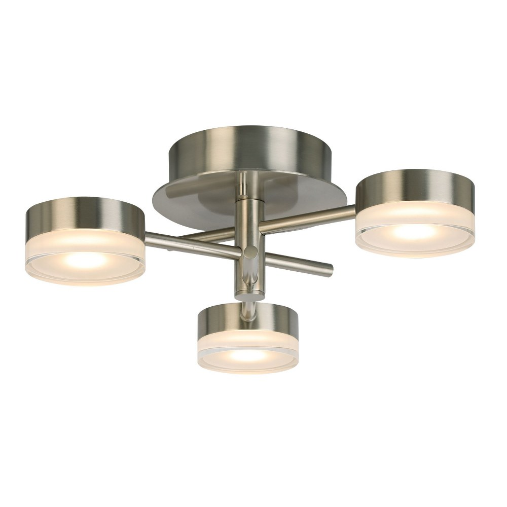 Eglo Lighting-203971A-Transton - 3-Light Integrated LED Ceiling Light - Brushed Nickel Finish  Brushed Nickel Finish with White Glass
