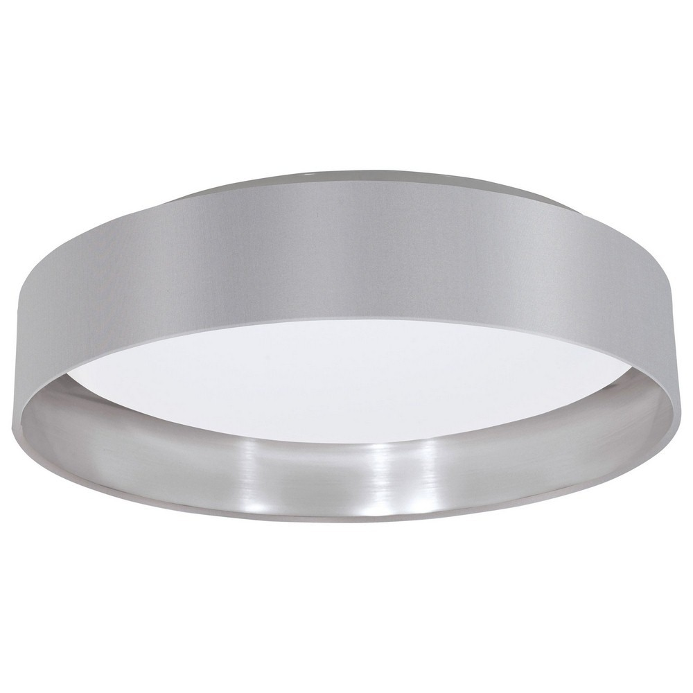 Eglo Lighting-31623A-Maserlo - 15.88 Inch 18W 1 LED Flush Mount  Grey/Silver Finish with White Glass