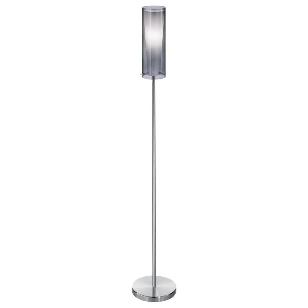 Eglo Lighting-90309A-Pinto Nero - One Light Floor Lamp  Matte Nickel Finish with Smoked/white Glass