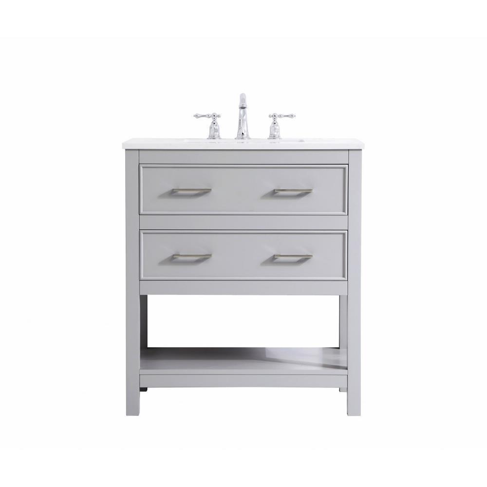 Elegant Decor Vf19030 Sinclaire 30 Inch 2 Drawer Single Single Bathroom Vanity Sink Set