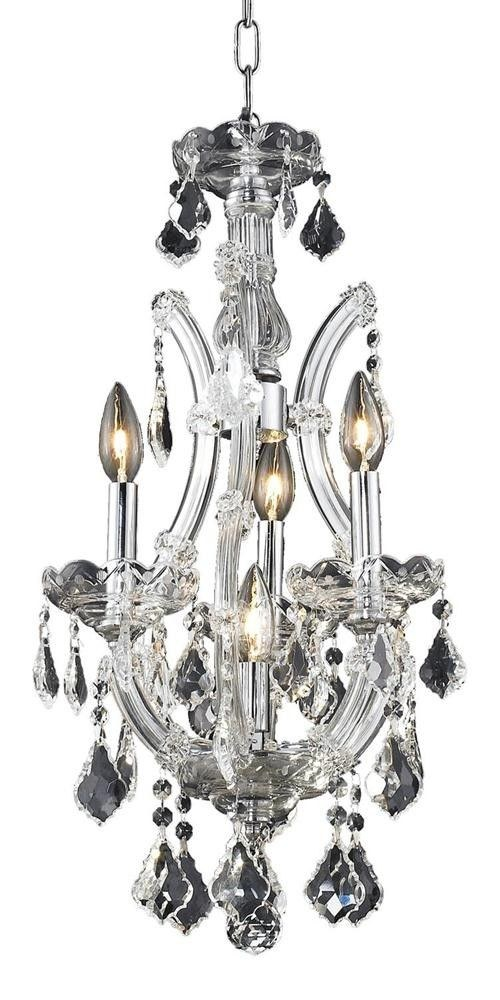 Elegant Lighting-2800D12C/EC-Maria Theresa - Four Light Pendant  Chrome Finish with Elegant Cut Crystal - Crystal (Clear)
