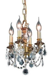 Elegant Lighting-9104D10FG/EC-Lillie - Four Light Chandelier  French Gold Finish with Elegant Cut Crystal - Crystal (Clear)