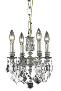 Elegant Lighting-9104D10PW/EC-Lillie - Four Light Chandelier  Pewter Finish with Elegant Cut Crystal - Crystal (Clear)