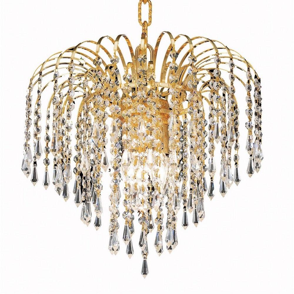 Elegant Lighting-V6801D14G/RC-Falls - Three Light Pendant Clear Royal Cut Gold Finish