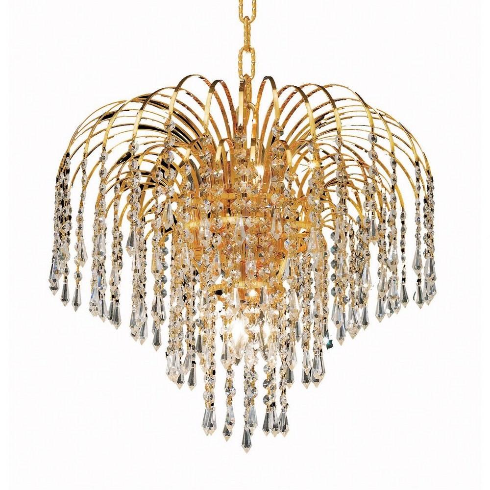 Elegant Lighting-V6801D19G/RC-Falls - Six Light Pendant Clear Royal Cut Gold Finish