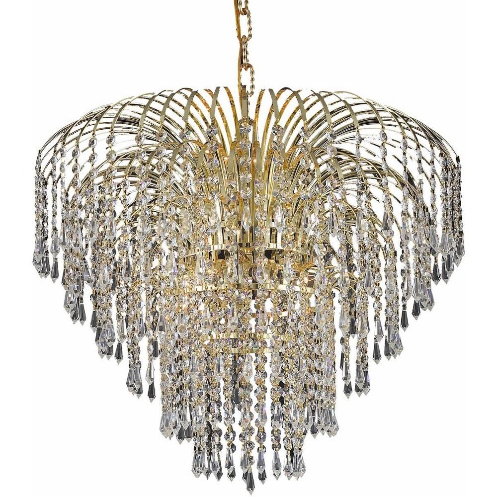 Elegant Lighting-V6801D25G/EC-Falls - Six Light Chandelier Clear Elegant Cut Gold Finish