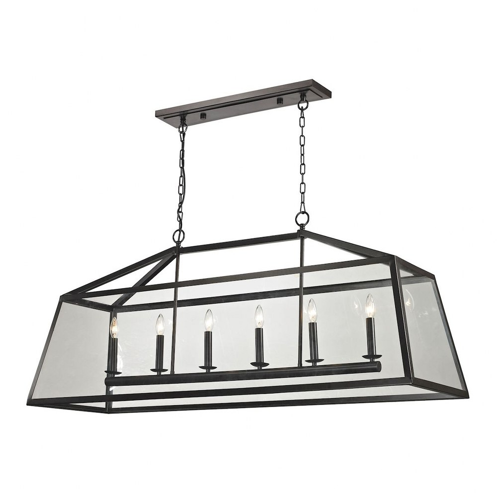 Elk Lighting-31509/6-Alanna - Six Light Chandelier  Oil Rubbed Bronze Finish with Clear Glass