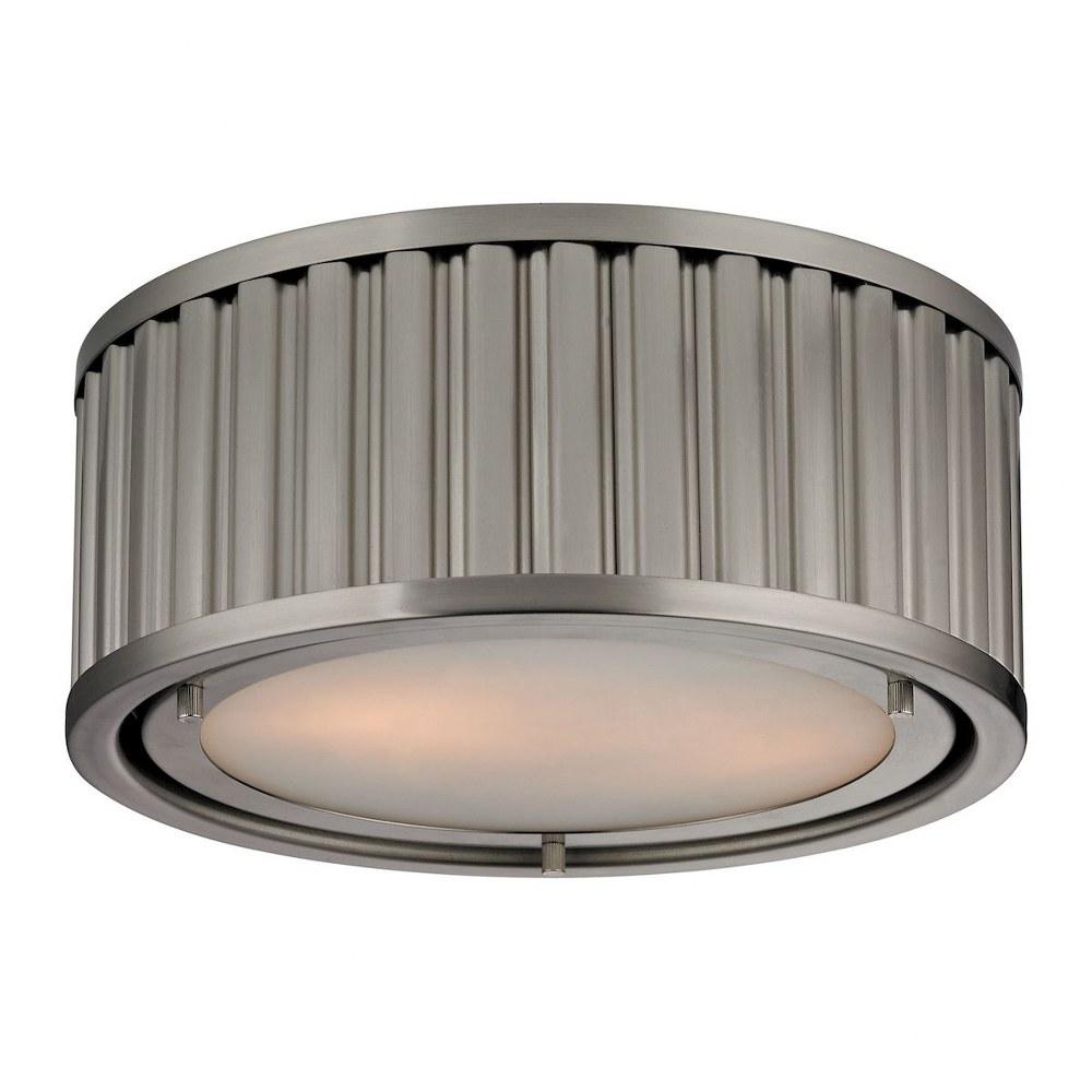 Elk Lighting-46110/2-Linden Manor - Two Light Flush Mount  Brushed Nickel Finish