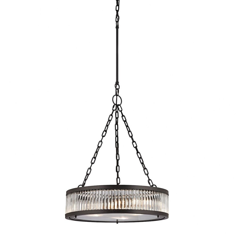 Elk Lighting-46135/3-Linden Manor - Three Light Chandelier Frosted/Textured Clear Oil-Rubbed BronzeOil Rubbed Bronze Finish with Frosted Glass