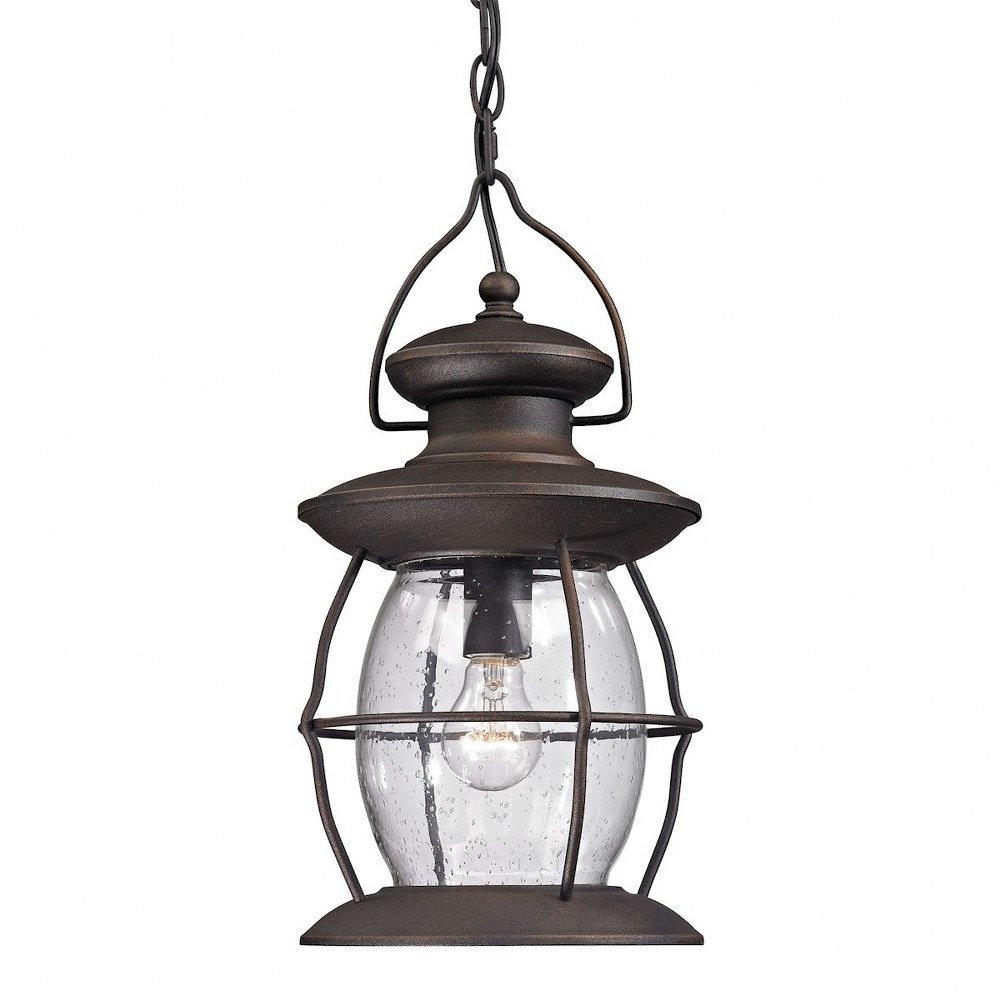 Elk Lighting-47043/1-Village Lantern - One Light Outdoor Hanging Lantern  Weathered Charcoal Finish with Clear Seedy Glass