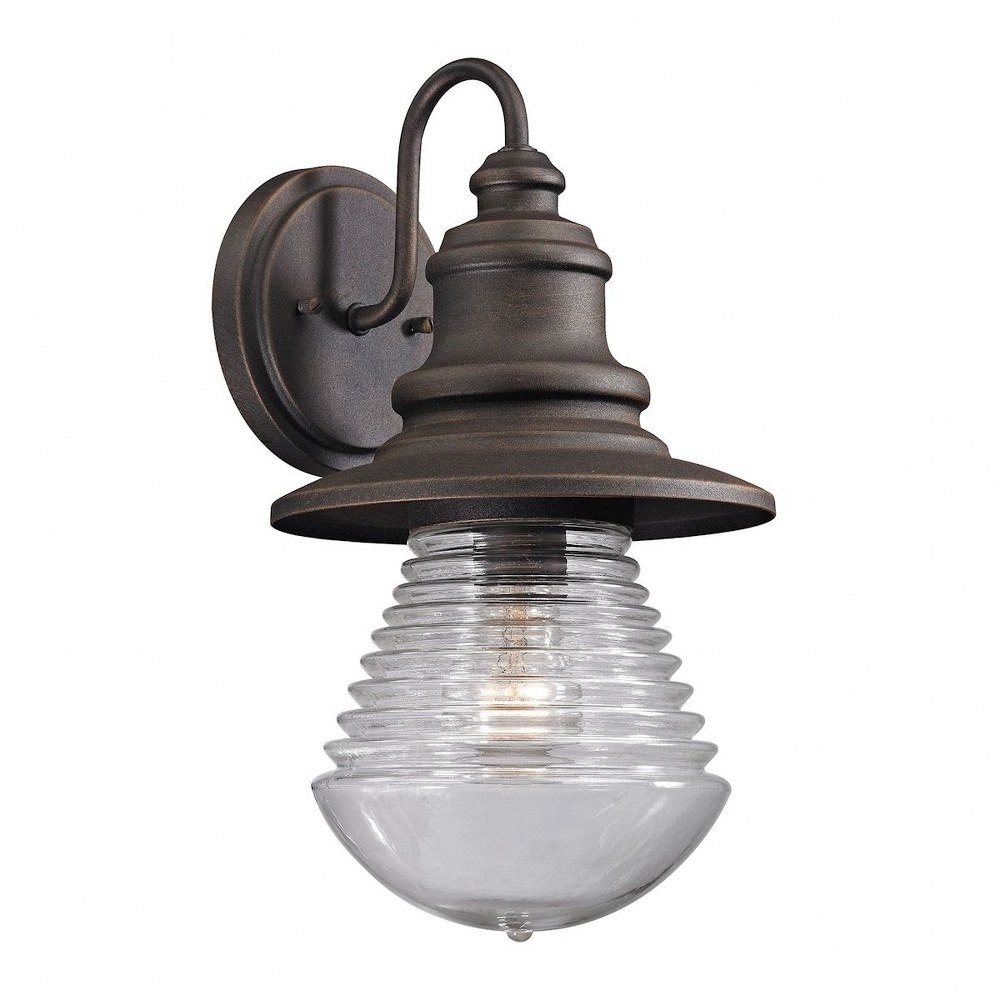 Elk Lighting-47045/1-Westport - One Light Outdoor Wall Lantern  Weathered Charcoal Finish with Clear Sculpted Glass with Weathered Charcoal Shade