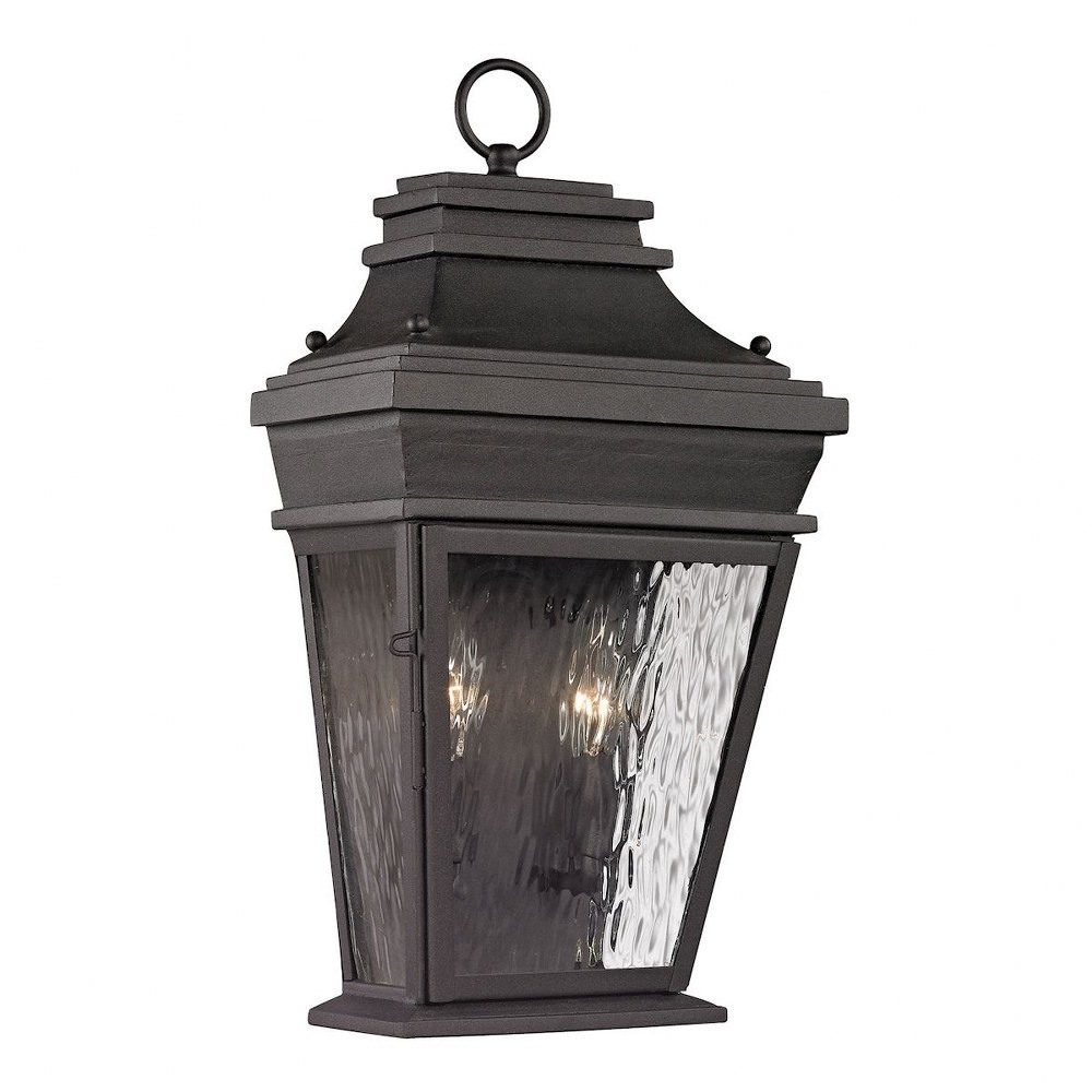 Elk Lighting-47052/2-Forged Provincial - Two Light Outdoor Wall Lantern  Charcoal Finish with Clear Rippled Glass
