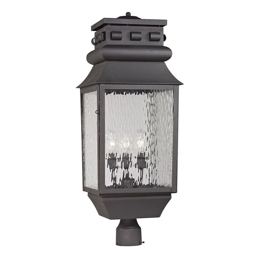 Elk Lighting-47062/3-Forged Lancaster - Three Light Outdoor Post Mount  Charcoal Finish with Clear Rippled Glass
