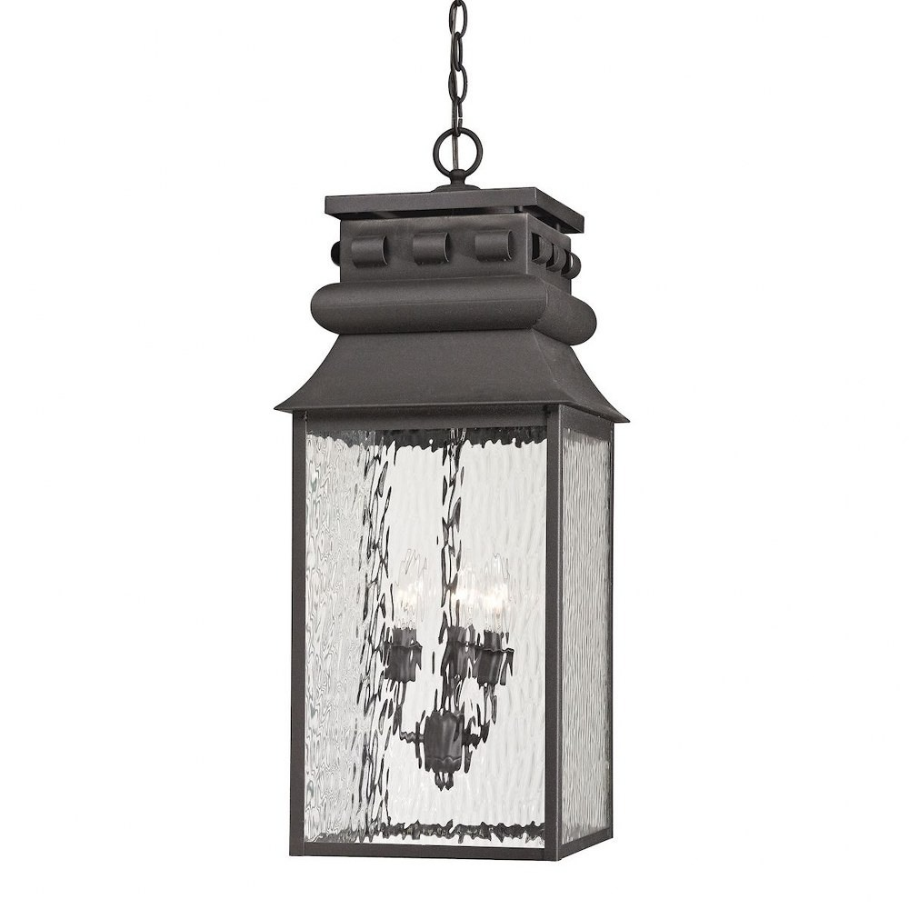 Elk Lighting-47066/3-Forged Lancaster - Three Light Outdoor Pendant  Charcoal Finish with Clear Rippled Glass