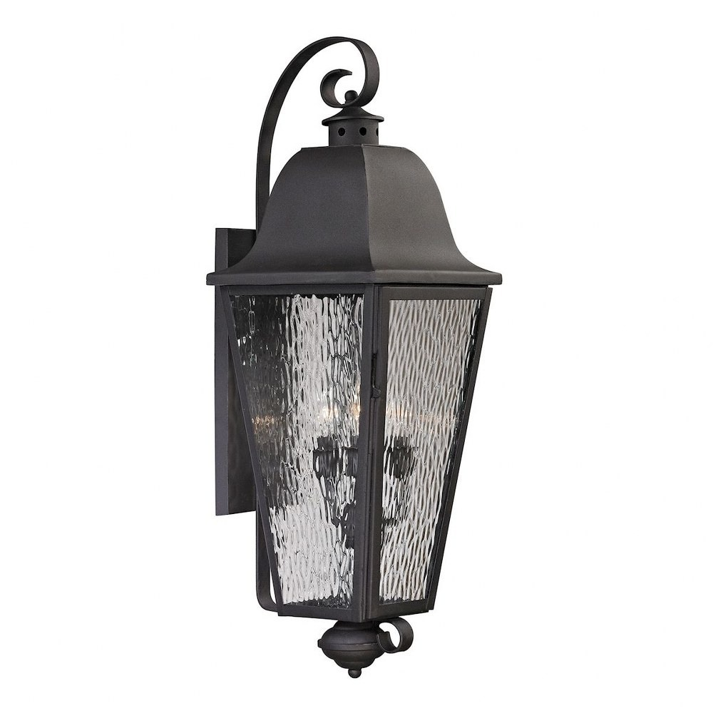 Elk Lighting-47103/4-Forged Brookridge - Four Light Outdoor Wall Lantern  Charcoal Finish with Clear Rippled Glass