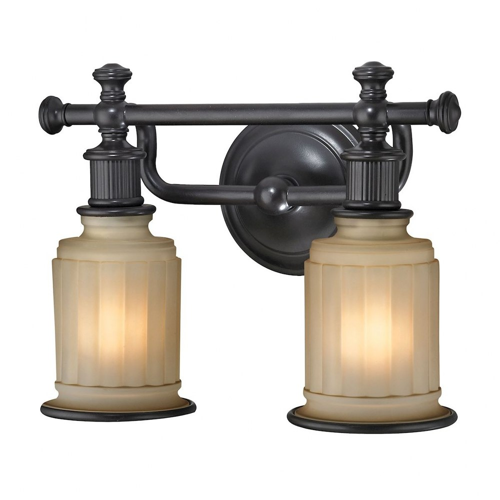 Elk Lighting-52011/2-Acadia - Two Light Bath Vanity  Oil Rubbed Bronze Finish with Opal White Reeded Pressed Glass