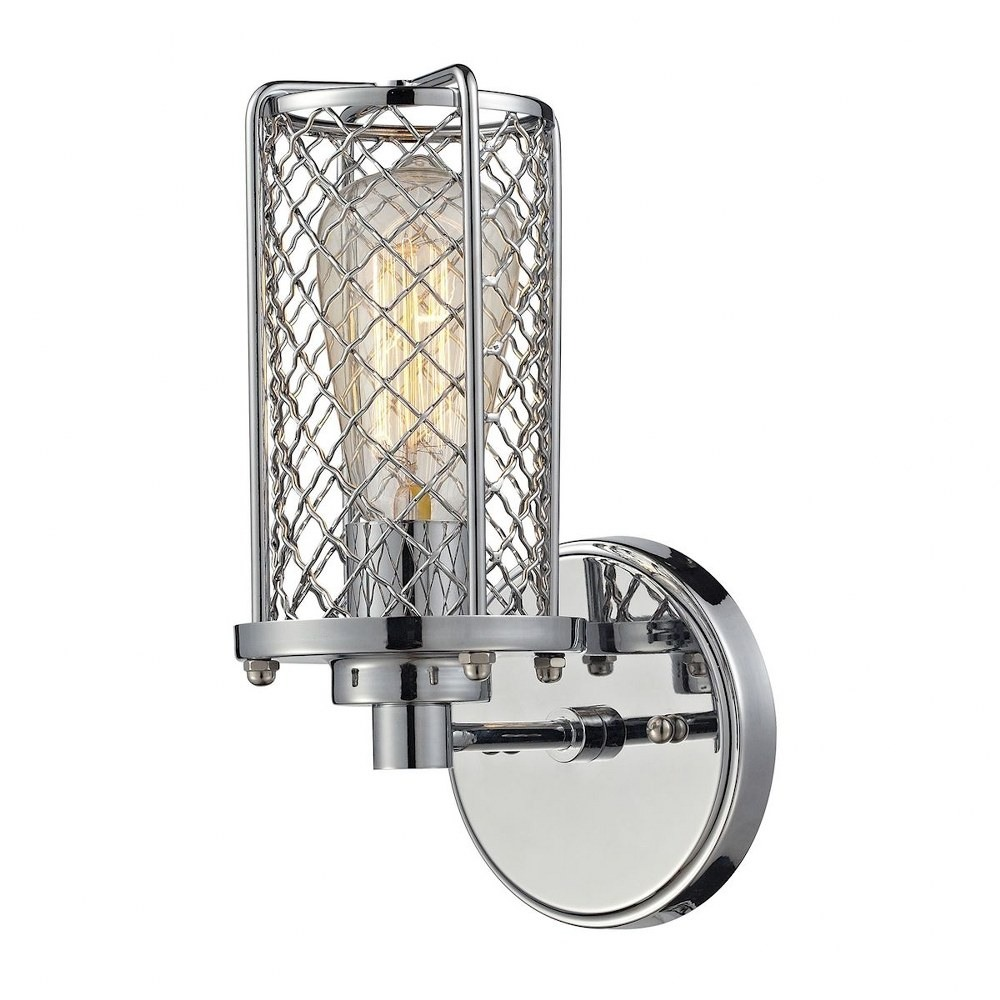 Elk Lighting-55000/1-Brisbane - One Light Wall Sconce  Polished Chrome Finish with Metal Cage Shade