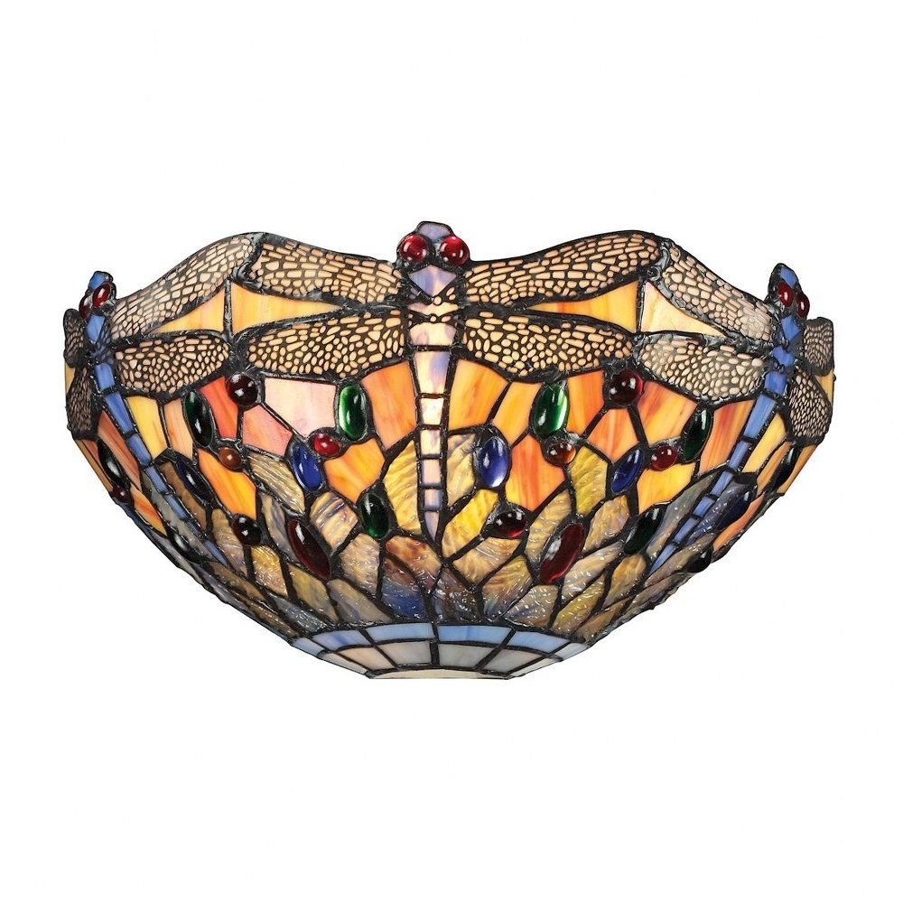 Elk Lighting-72077-1-Dragonfly - One Light Wall Sconce  Dark Bronze Finish with Tiffany Glass