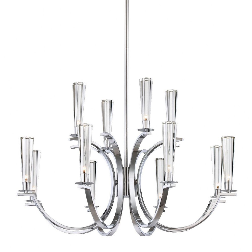 Eurofase Lighting-25635-010-Cromo Chandelier 12 Light  Polished Chrome Finish with Clear Glass