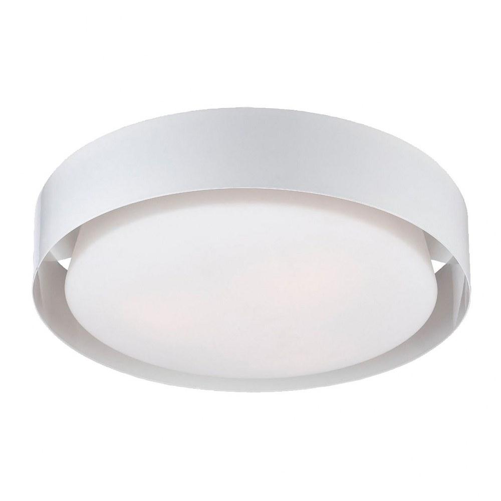 Eurofase Lighting-25732-030-Saturn - Three Light Flush Mount  White Finish with Opal White Glass
