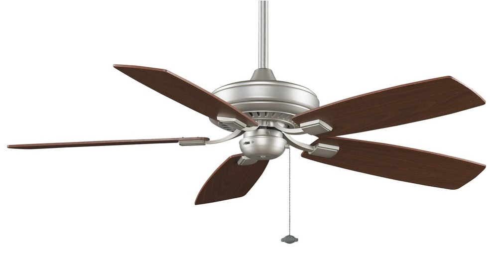 Fanimation Fans-TF610SN-Edgewood 5 Blade 12 Inch Ceiling Fan  and Optional Light Kit  Satin Nickel Finish with Walnut/Light Walnut Blade Finish