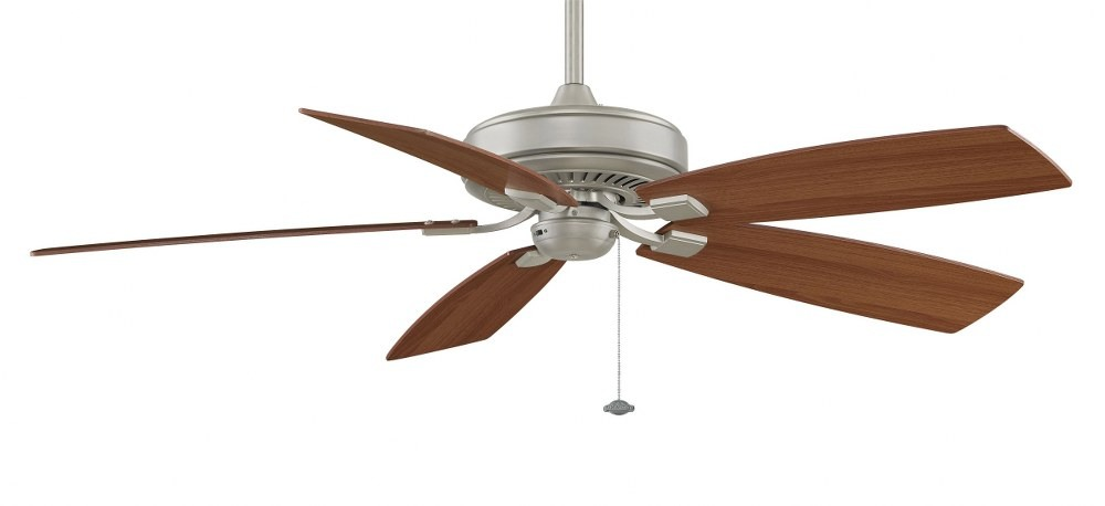 Fanimation Fans-TF710SN-Edgewood Deluxe 5 Blade 60 Inch Ceiling Fan  and Optional Light Kit  Satin Nickel Finish with Walnut/Light Walnut Blade Finish