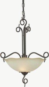 Forte Lighting-2463-02-32-Two Light Bowl Pendant  Antique Bronze Finish Umber Glass