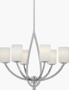 Forte Lighting-2572-06-05-Six Light Chandelier  Chrome Finish Satin Opal Shade