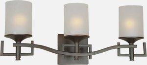 Forte Lighting-5138-03-32-Three Light Bath Bracket  Antique Bronze Finish White Linen Glass