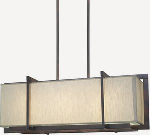 Forte Lighting-7029-03-32-Three Light Pendant  Antique Bronze Finish Fabric Shade