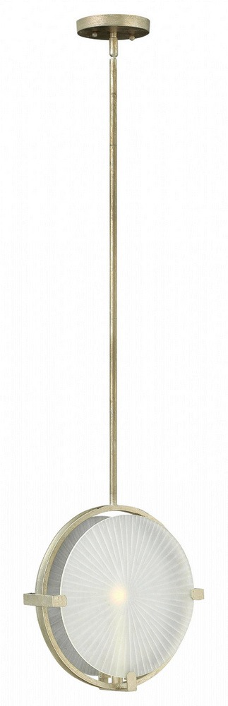 Fredrick Ramond Lighting-FR43914SLF-Helios - One Light Foyer  Silver Leaf Finish with Clear/Etched Glass
