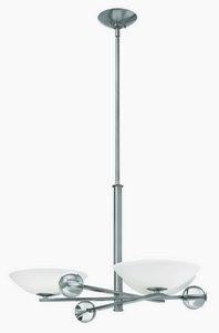Fredrick Ramond Lighting-FR45923BNI-Parallax - Three Light Chandelier  Brushed Nickel Finish with Etched Opal Glass