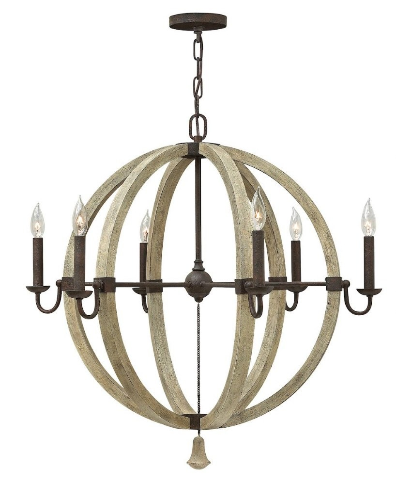 Fredrick Ramond Lighting-FR40566IRR-Middlefield - 6 Light Rustic Large Orb Chandelier with Wood and Metal Design  Iron Rust Finish