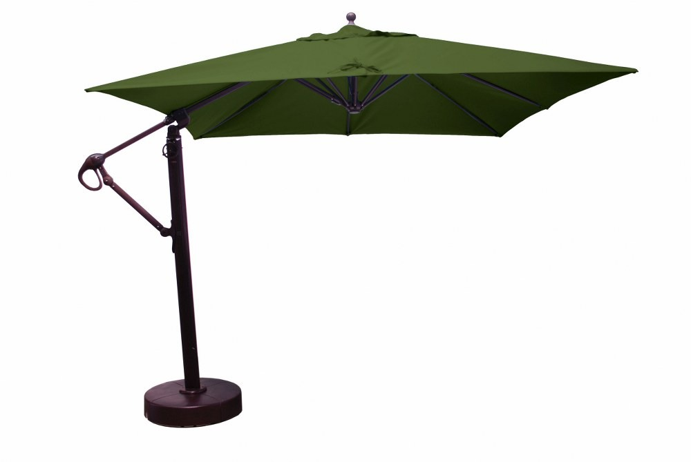 Galtech International-897AB52-10 x 10' Cantilever Square Umberalla 52: Forest Green AB: Antique BronzeSunbrella Solid Colors - Quick Ship