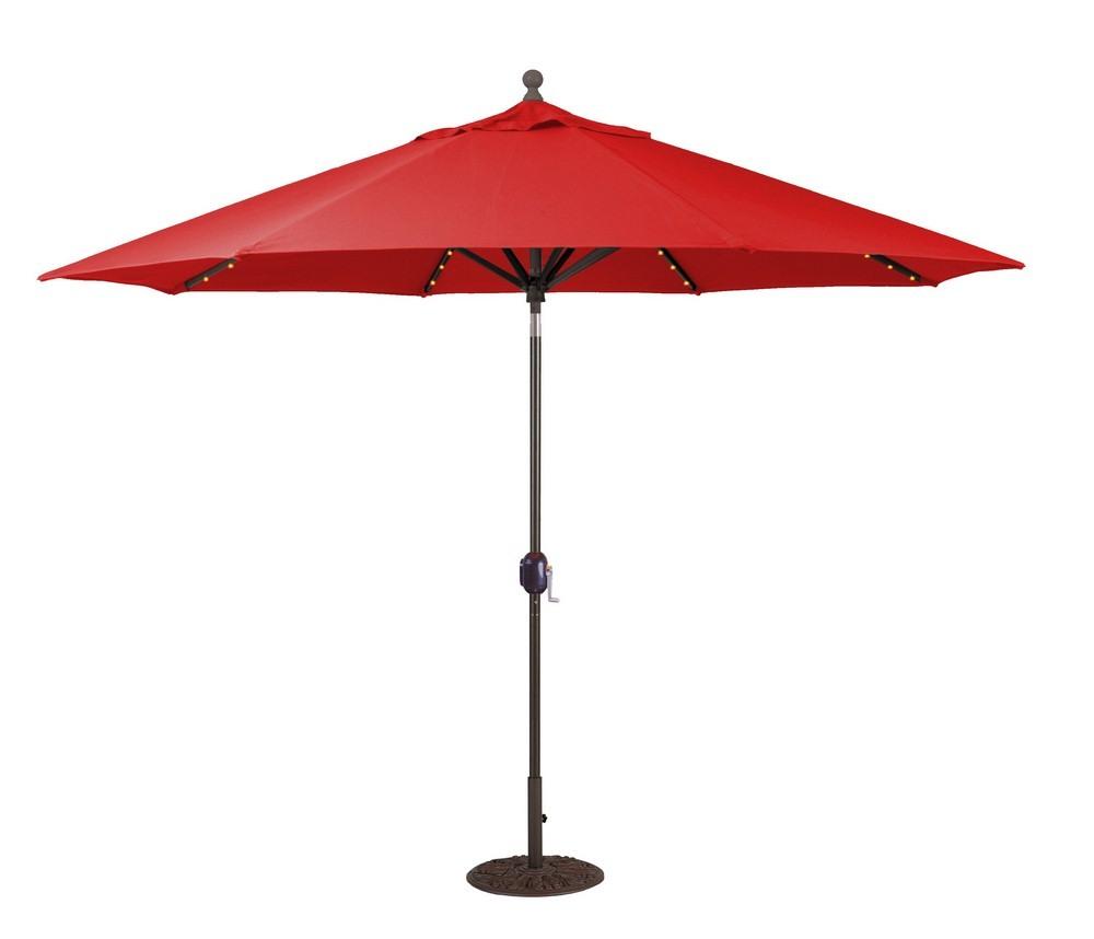 Galtech International-986BK26-11' Octagon Umbrella with LED Light 26: Cardinal Red BK: BlackSuncrylic - Quick Ship