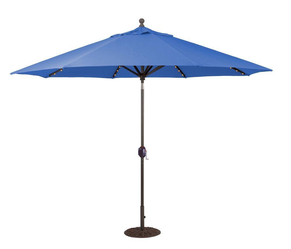 Galtech International-986BK53-11' Octagon Umbrella with LED Light 53: Pacific Blue BK: BlackSunbrella Solid Colors - Quick Ship