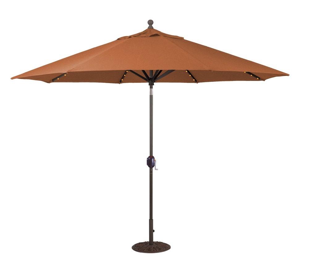 Galtech International-986AB65-11' Octagon Umbrella with LED Light 65: Brick AB: Antique BronzeSunbrella Solid Colors - Quick Ship
