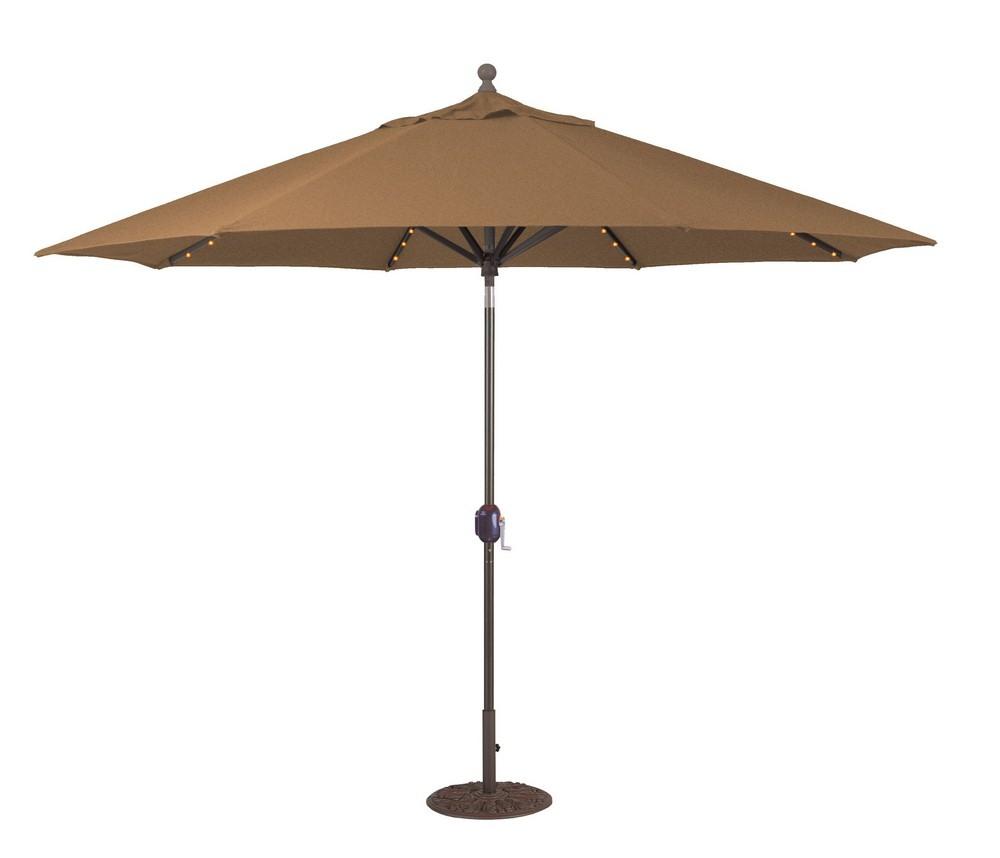 Galtech International-986AB68-11' Octagon Umbrella with LED Light 68: Teak AB: Antique BronzeSunbrella Solid Colors - Quick Ship