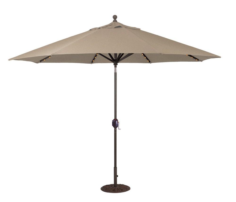 Galtech International-986AB76-11' Octagon Umbrella with LED Light 76: Heather Beige AB: Antique BronzeSunbrella Solid Colors - Quick Ship