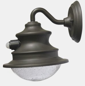 Gama Sonic-GS-122-PIR-Gama Sonic - 12 Inch LED Solar Barn Light Gooseneck Wall Mount with Motion Sensor  Matte Brown Finish with Hand Blown Bubbled Glass