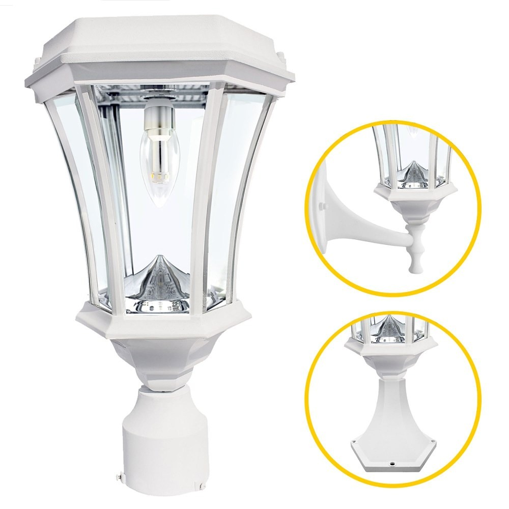 Gama Sonic-GS-94B-FPW-White-Victorian - 18 Inch 11 LED Solar Light with GS Solar Light Bulb and Wall/Pier/3 Inch Fitter Mounts  White Finish