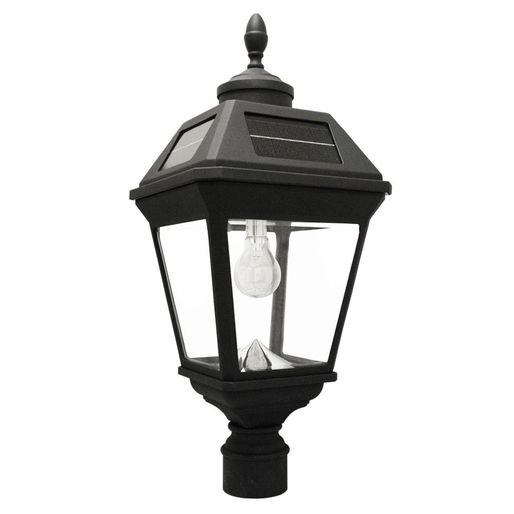 Gama Sonic-GS-97B-F-Imperial - 22.5 Inch 11 LED Solar Post Light with GS Solar Light Bulb and Eagle/Acorn Finial  Black Finish with Clear Glass