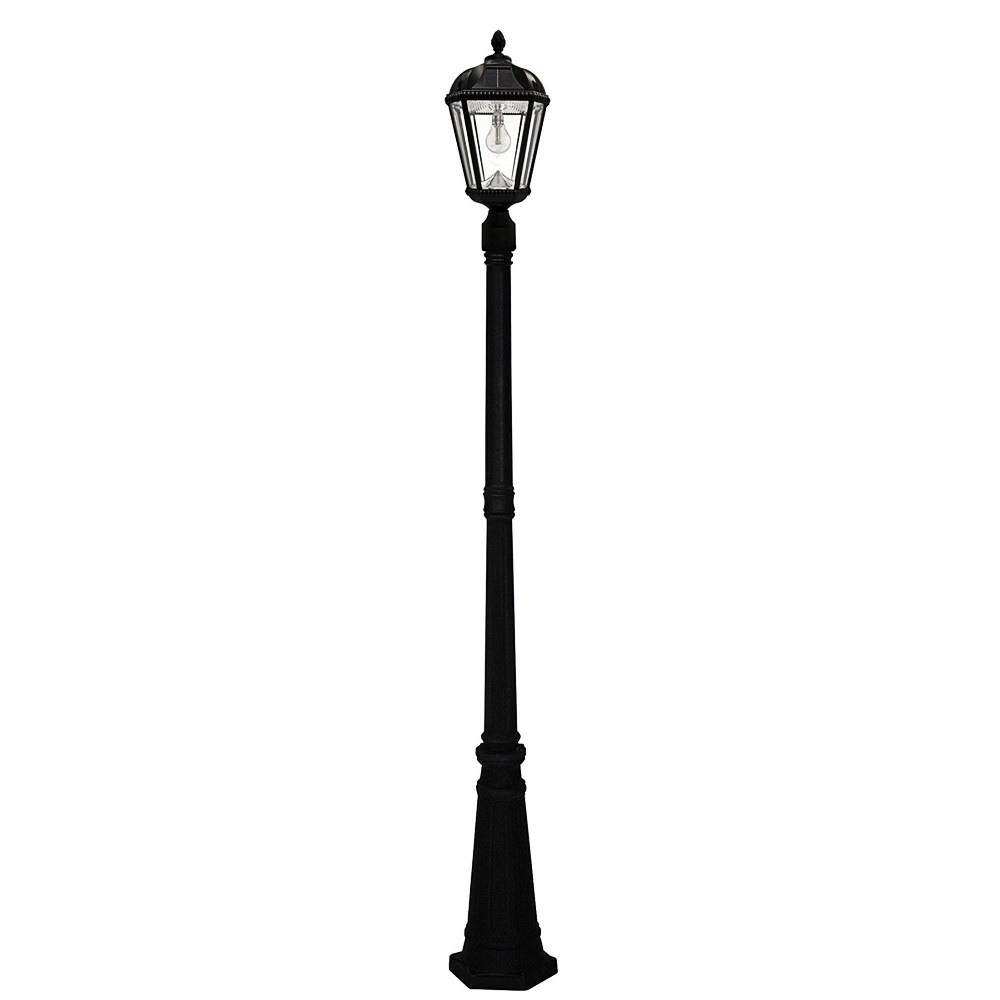 Gama Sonic-GS-98B-S-BLK-Royal - 18 Inch 11 LED Solar Light with GS Solar Light Bulb and 3 Inch Fitter  Black Finish with Clear Glass