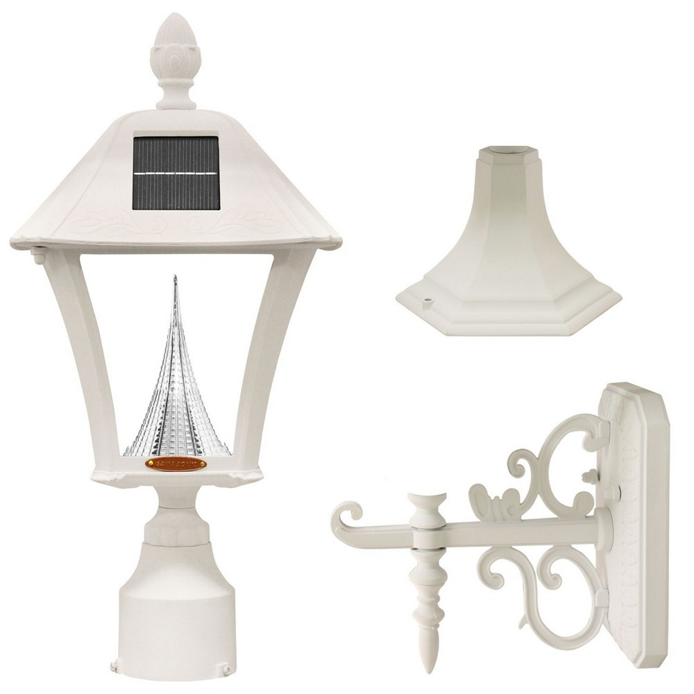 Gama Sonic-GS-106FPW-W-Baytown - 17 Inch 2W LED Outdoor Light Fixture (Pole/Post/Wall Mount Kit)  White Finish