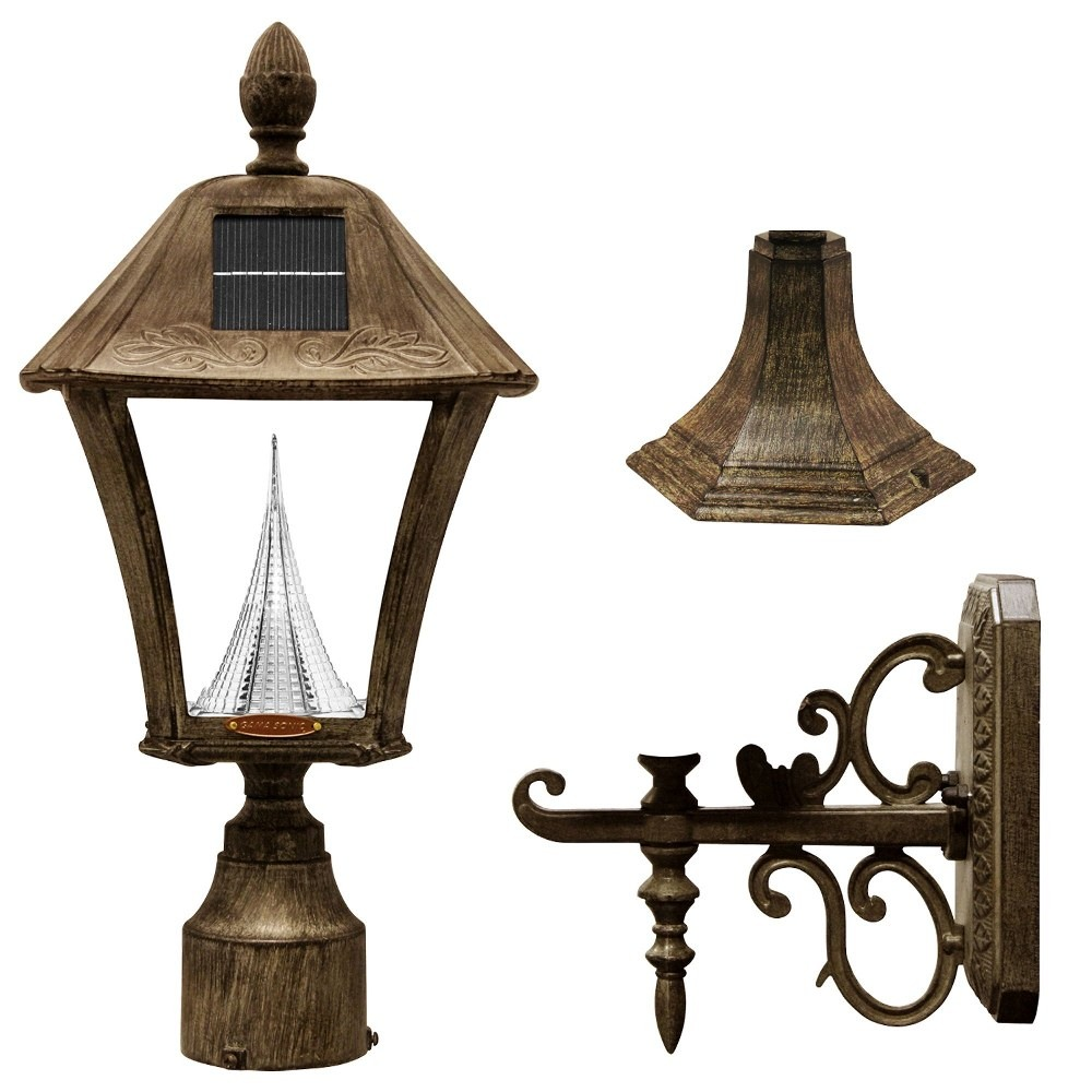 Gama Sonic-GS-106FPW-WB-Baytown - 17 Inch 2W LED Outdoor Light Fixture (Pole/Post/Wall Mount Kit)  Weathered Bronze Finish